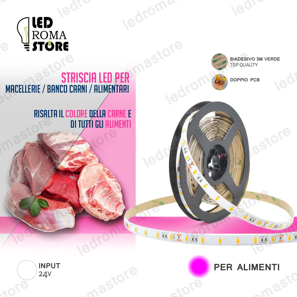 Striscia Led per alimenti carne insaccati salumi rosa 24V